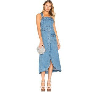 See By Chloe Denim Pinafore Overall Midi Dress